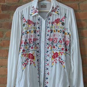 VRAKSHA boutique embroidered white buttonup blouse